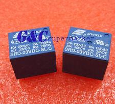 10PCS Mini 3V DC SONGLE Power Relay SRD-3VDC-SL-C PCB Type NEW