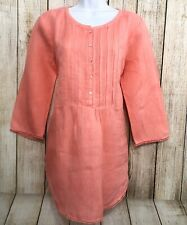 Calypso St. Barth Women Sz Medium Tunic Hallie 100% Linen Top Coral Pleated