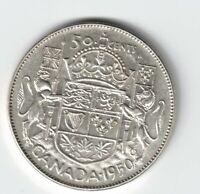CANADA 1950 HALF DESIGN 50 CENTS HALF DOLLAR GEORGE VI .800 SILVER COIN CANADIAN