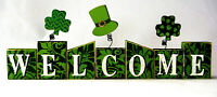 """ST PATRICK'S DAY TABLE TOP WOODEN DECORATION """"WELCOME"""" IRISH DECOR"""