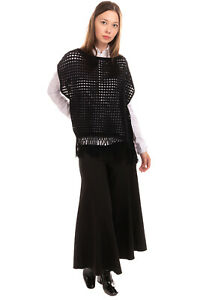 RRP €280 ELIE TAHARI Cashmere & Wool Tank Top Size XS-S Open-Knit Fringe Trim