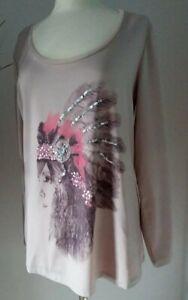 Sarah kern T Shirt Tunika 42 XL Altrosa Glitzer