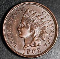 1902 INDIAN HEAD CENT - With LIBERTY & Near 4 DIAMONDS - AU UNC