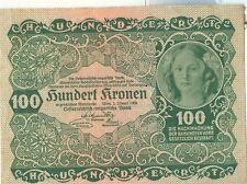 OLD AUSTRIA GOUVERNMENT 100 KRONEN 1922 Unc.