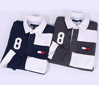 NEW TOMMY HILFIGER MEN'S QUARTERED STRIPE RUGBY POLO SHIRT LONG SLEEVE FREE SHIP