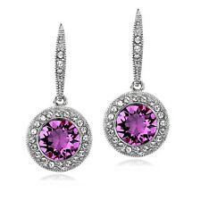 Silver Tone Purple & Clear Swarovski Elements Halo Dangle Leverback Earrings