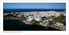 Poster Panorama Old San Juan Puerto Rico from helicopter Fine Art Print Photo