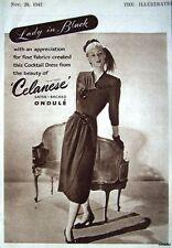 1947 'CELANESE' Ladies 'Ondule' Cocktail Dress Advert - Small Fashion Print Ad