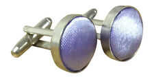 Unisex Silver plated plain satin Cuff links for Blouse or Shirt Pale Lilac No14