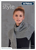 1x Patons Pattern Leaflet Merino Style 1 Scarf Wrap Sewing Craft Tool