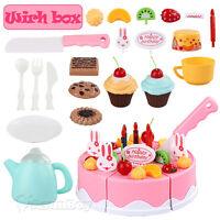 Red Kids Birthday Candle Strawberry Cake Kitchen Set Pretend Play Toys Gift Box
