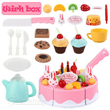 Red Kids Birthday Candle Strawberry Cake Kitchen Set Pretend Play Toys Gift Box