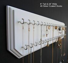 6x24-White 45-Silver, Jewelry Organizer, Necklace Holder, Hanging Wall Display
