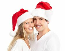 2pcs Christmas Cap Thick Ultra Soft Plush Santa Claus Fancy Dress Hat Red Hot