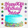 Personalised Happy 30th Birthday Glitter Cake Topper Custom Name Age 18 21 40 1