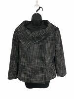 Tahari ASL Black White Tweed Blazer Jacket Snaps Button Peaccoat Women's Size 12