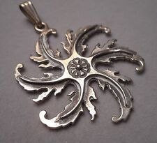 Leafy Pinwheel Motif Pendant 8.1g Unusual Victorian Inspired Sterling Silver