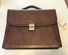 New Texier Brown Leather Briefcase Briefcase Bag With Strap Work Made In France