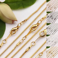 5/10 X Silver/Gold Plated Lobster Clasp 1mm Snake Chain for Necklace Making 43cm