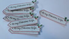 Set of 10 Handmade Christmas Card Embroidered To My Fabulous Wife Motifs #8F40