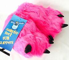 NEW Pink Furry Monster Feet NOVELTY Girls SLIPPERS size 12 UK SELLER