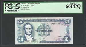 Jamaica 10 Dollars 1-3-1994 P71e Uncirculated Graded 66