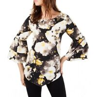 ALFANI NEW Women's Black Multi Floral Tiered Sleeves Blouse Shirt Top S TEDO