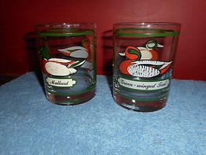 MCM GEORGES BRIARD Low Ball Rocks Cocktail Glasses MALLARD & GREEN WINGED TEAL