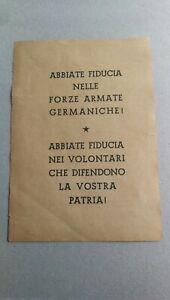 """Volantino RSI Repubblica Sociale Italiana """"Italiani Germania"""" volontari guerra"""