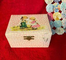 Vtg Small Pink Children's Jewelry Box Little Girl & Boy Character Ballerina