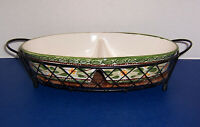 """QVC Temp Tations Old World Green Oval Divided Vegetable Bowl (14"""") w/ Wire Stand"""