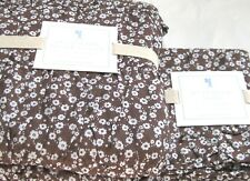Pottery Barn Twin Duvet Cover Jacqueline + Sham White Flower Chocolate Brown NIP