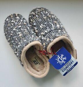 Dearfoams Women's Small 5-6 Slippers Memory Foam No Sweat Comfort New Gray