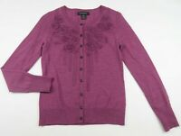 Banana Republic Womens Fine Merino Wool LS Magenta Pink Cardigan Sweater Size XS