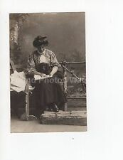OLD FOUND BLACK AND WHITE PHOTO C984 WOMAN POSED READING PAPER HOLDS PET DOG