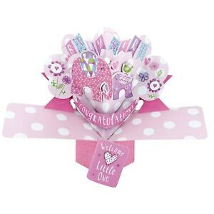New Baby Girl Card 3D Pop Up Card New Baby Girl Gift Card