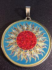 "$72 Manipura Chakra Necklace Turquoise Gemstone 1.5/8"" Pendant Sterling Silver"