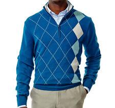 NWT Haggar Classic Fit Quarter-Zip Teal Blue Plaid Argyle Sweater Men's Size XL
