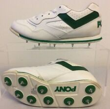 Boys Pony Cricket Shoes UK 4 White & Green with Spikes T282