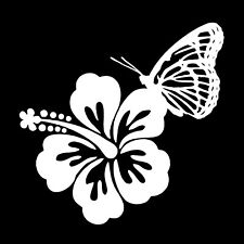 "Hawaiian Hibiscus with Butterfly Custom Car Vinyl Decal Sticker 5"" x 5"""