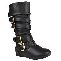 Girls Cuffed Collar Mid Calf Boots w/ Gold Strap Buckle Accent Tan Sz 9-4