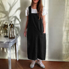 Plus Size Women Sleeveless 100%Cotton Dungaree Casual Pinafore Cooking Apron