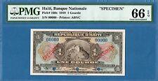 Haiti, 1 Gourde, 00000 specimen, 1919, Gem UNC-PMG66EPQ, P160s