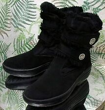 PAJAR BLACK FABRIC FAUX FUR WINTER FASHION BOOTS SHOES US WOMENS SZ 7 7.5 EU 38