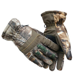 Unisex Camo Gloves Outdoor Waterproof Full Finger Thicken Gloves for Ski Hunting