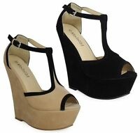 Ladies Women Cut Out Wedges High Heel Peeptoe Platform Sandals Womens Shoes Size