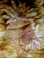 Antique Silk Scarf Shawl Art Nouveau Fabric Table Piano Lilly Pads