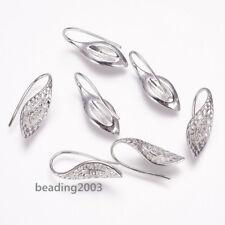 10pcs Brass Cubic Zirconia Earring Hooks Settings Earwires Platinum 23mm