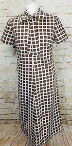 1970s ORIGINAL BOLD SQUARE PATTERN TIE NECK COTTON SHIFT DRESS  HIPPY BOHO MOD