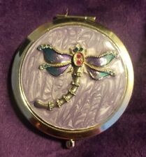 New Beautiful Jeweled Purple Enameled Dragonfly Double Sided Compact Mirror Nib
